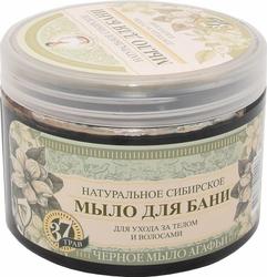 Babuszka Agafia, czarne mydło bania 37 ziół do pielęgnacji ciała i włosów, 500ml