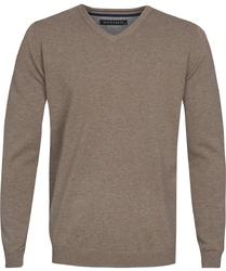Beżowy sweter  pulower v-neck z bawełny  M
