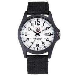 ZEGAREK męski XINEW materiałowy pasek biała tarcza - black white dial