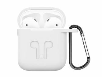 Etui do Apple AirPods silikonowe białe + karabińczyk - Biały