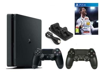 KONSOLA SONY PS4 500 GB SLIM + 2 PADY + FIFA 18 + ŁADOWARKA
