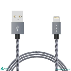 AUKEY CB-D24 Grey nylonowy szybki kabel Quick Charge Lightning-USB | 1m | certyfikat MFi Apple