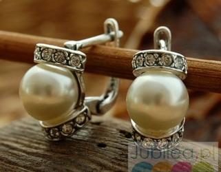 CANNES  srebrne kolczyki z perłą i kryształami