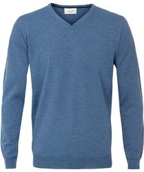 Sweter  pulower v-neck z wełny z merynosów niebieski XXL