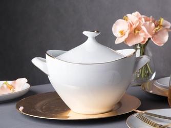 Waza do zupy porcelana mariapaula moderna gold 2,5 l ze złotym zdobieniem