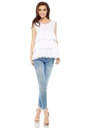 Biała trapezowa kobieca bluzka bez rękawów falbankami