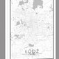 Łódź mapa czarno biała - obraz na płótnie