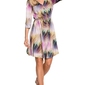 Wzorzysta rozkloszowana sukienka z guzikami - model 1