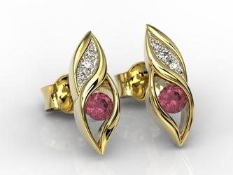 Kolczyki z żółtego złota z rubinami i diamentami apk-51z-r