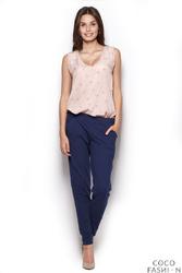 Proste Bawełniane Spodnie - Granatowe
