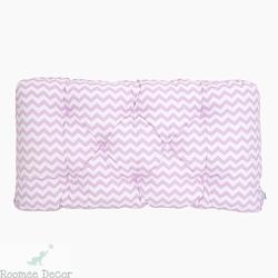 Poduszka-wezgłowie duża - zygzaki - różowo-białe