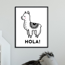 Hola - plakat dla dzieci , wymiary - 50cm x 70cm, kolor ramki - czarny