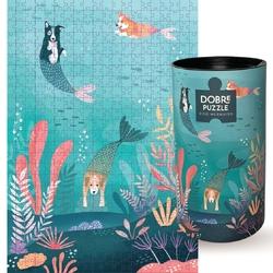 Puzzle dog mermaids - wyjątkowe puzzle z niepowtarzalnymi ilustracjami, 500 elementów, odprężający prezent dla przyjaciela i przyjaciółki