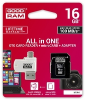 Goodram karta microsdhc 16gb cl10 + adapter + czytnik