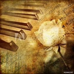 Obraz na płótnie canvas czteroczęściowy tetraptyk muzyczny retro