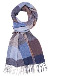 Elegancki szal w brązową, niebieską i szarą kratę z wełny z kaszmirem