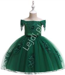 Butelkowo zielona sukienka dziecięca z dekoltem typu hiszpanka 057