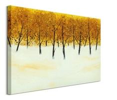 Yellow trees on white - obraz na płótnie