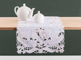 Bieżnik na stół altom design biały dek. ażurowe liście 40 x 140 cm