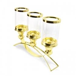 Lampion świecznik elegancki złoty metal szkło