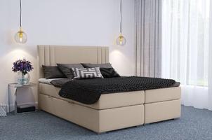 Eleganckie tapicerowane łóżko kontynentalne do sypialni august z pojemnikiem na pościel