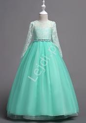 Długa suknia balowa dla dziewczynki w kolorze miętowym 023