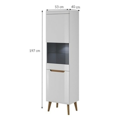Witryna stojąca bordi 53 cm biała połysk + led bez led