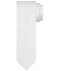 Biały krawat jedwabny - prosty splot