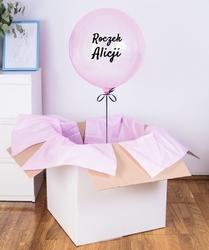 Balon z helem w pudełku na roczek - różowa kula