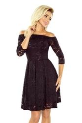 Czarna sukienka koronkowa z rozkloszowanym dołem