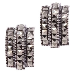 Gianna srebrne kolczyki z markazytami, sztyft