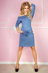 Niebieska sukienka dresowa ze ściąganym paskiem