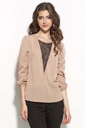 Beżowa bluzka z długim rękawem z koronkowym zdobieniem