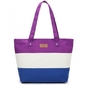 Plażowa torebka letnia w paski fioletowa
