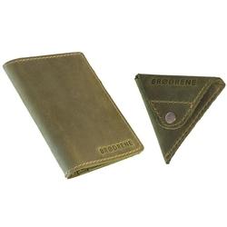 Skórzany zestaw portfel i bilonówka brodrene sw01 + cw01 zielony - oliwkowy