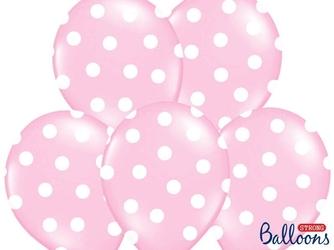 Balony 30 cm. kropki, pastel baby pink, 1 op.50 szt