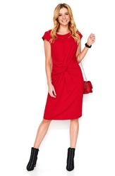 Czerwona dresowa sukienka midi z ozdobnym przełożeniem