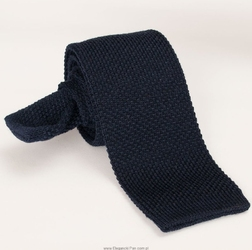 Granatowy krawat wełniany z dzianiny - knit