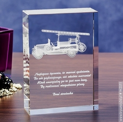 Wóz strażacki retro 3d • personalizowany kryształ 3d średnia • grawer 3d