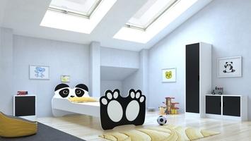Łóżko dziecięce panda biało-czarne z materacem 160 cm
