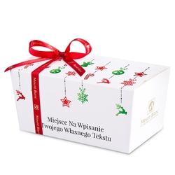 Czekoladki na gwiazdkę ballotin white christmas tree chain no.1 z życzeniami