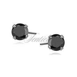 Srebrne kolczyki pr.925 czarna cyrkonia okrągła średnica 4mm - 4 mm