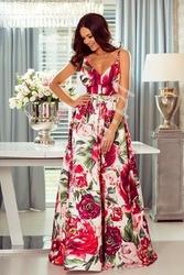 Kwiatowa suknia z odkrytymi plecami, biała w fuksjowo różowe kwiaty  - megi