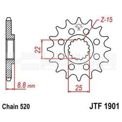 Zębatka przednia jt f1901-12, 12z, rozmiar 520 2201014 ktm smr 450, beta rr 520