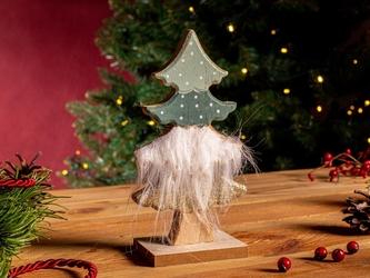 Figurka  ozdoba  dekoracja świąteczna drewniana święta boże narodzenie altom design choinka z futerkiem 9,5 x 6 x 18,5 cm