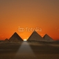Naklejka samoprzylepna wschód słońca piramid giza, egipt