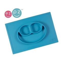 Niebieski talerzyk z podkładką 2w1 happy mat