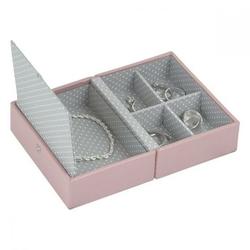 Pudełko na biżuterię podróżne Travel Box Stackers różowo-szare