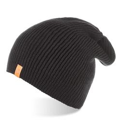Jesienna czapka męska smerfetka brodrene cz7 czarna - czarny