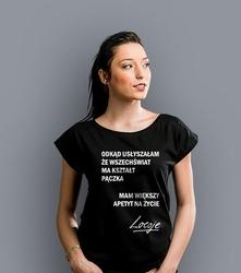 Odkąd usłyszałam, że wszechświat ma kształt pączka t-shirt damski czarny xs